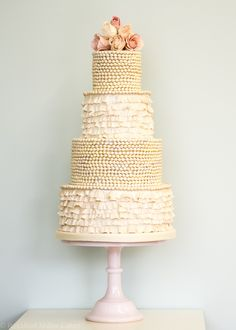 Ruffles and Pearls Wedding Cake by Rosalind Miller Cakes London