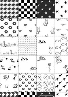 FREE printable black-and-white patchwork pattern paper (-you can use for DIY coloring stickers too^^) Digital Scrapbook Paper, Printable Scrapbook Paper, Printable Planner Stickers, Printable Paper, Free Printables, Stock Image, Grafik Design, Free Paper, Vintage Paper