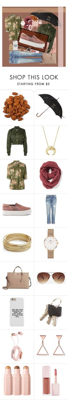 """""""Dancing in the rain"""" by watermelonhead ❤ liked on Polyvore featuring Maybelline, Alexander McQueen, Alpha Industries, Bloomingdale's, Moncler, Old Navy, Vince, Current/Elliott, Design Lab and Daniel Wellington"""