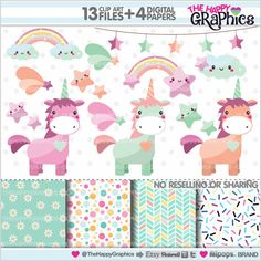 Unicorn Clipart Unicorn Graphics COMMERCIAL by TheHappyGraphics