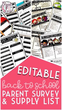 Use this back to school EDITABLE parent survey and supply list at the beginning of the year. The bundle includes a template for teachers to ask questions about children that are new students. It's perfect for getting to know families right from Open House. The wish list can be customized for the needs of any classroom so the new semester can start off right. It includes several versions (color or black/white) with different clip art styles. Works well for kindergarten, elementary, or even…