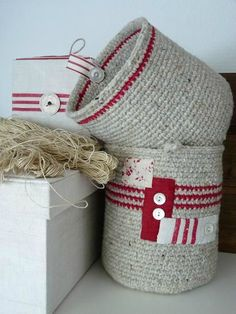 "inspiration twine baskets, embellished (should I use ""twine""  made with strips of old clothes?)"