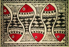 Patterns from drawings Also called Mithila styleof painting, Madhubani Painting is popular for wall decoration in rural areas of Bihar, Orissa and some parts of Nepal. Madhubani Art, Madhubani Painting, Motifs Textiles, Art Populaire, Indian Folk Art, India Art, Art Textile, Fish Art, Folk Art Fish