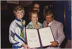 International Women's Year was the name given to 1975 by the United Nations. On July 10 of that year the National Archives held the International Women's Year Reception. Along with First Lady Betty Ford, Ms. Jill Ruckleshaus, Archivist James B. Rhoads, and General Services Administration Administrator Arthur Sampson were all in attendance. Image: National Archives Identifier: 186814