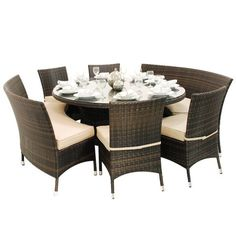Dallas Rattan 8 Seater Round Fan Bench and Chairs Dining Set – The UK's No. 1 Garden Furniture Store