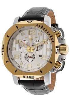 Swiss Legend Scubador Chrono Black Genuine Leather Gold-Tone Bezel