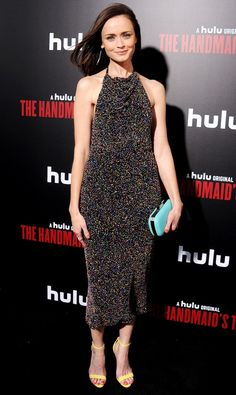 Alexis Bledel in a sparkly high-neck halter midi dress