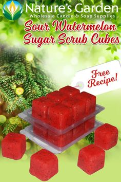 Sour Watermelon Sugar Scrub Cubes Recipe is a free tutorial by Natures Garden Cosmetic Making Supplies. Learn how to make clamshell sugar scrub cubes.