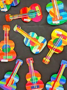 Zilker Elementary Art Class: Zilker& 2014 School-wide Student Art Show - Alphabet Crafts - Zilker Elementary Art Class: Zilker& 2014 School-wide Student Art Show - Projects For Kids, Art Projects, Crafts For Kids, Arts And Crafts, Mexican Crafts Kids, Instrument Craft, Music Instruments, Guitar Crafts, Guitar Art