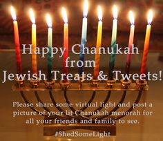 While the primary mitzvah of #Chanukah is to publicize the miracle by lighting the menorah and displaying the lights, it doesn't hurt to also share some virtual light and post a picture of your lit Chanukah #menorah on Facebook for all your friends and family to see.  We invite you all to share pictures of your lit menorahs with us here on Jewish Treats throughout the eight days and nights of Chanukah! Use the hashtag #ShedSomeLight.  Happy Chanukah! Invite, Invitations, Hanukkah Menorah, The Eighth Day, Birthday Candles, It Hurts, Treats, Lights, Facebook