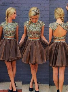 Stylish 2 Piece Jewel Cap Sleeves Short Chocolate Homecoming Dress with Beading…