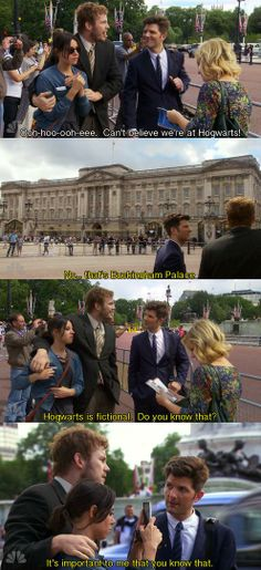 "Parks and Recreation Season Six Episode 1: London. ""Hogwarts is fictional. Do you know that? It's important to me that you know that."""