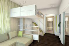 Výsledek obrázku pro obývák a ložnice v jednom Mandala, Loft, Bed, Furniture, Home Decor, Decoration Home, Stream Bed, Room Decor, Lofts