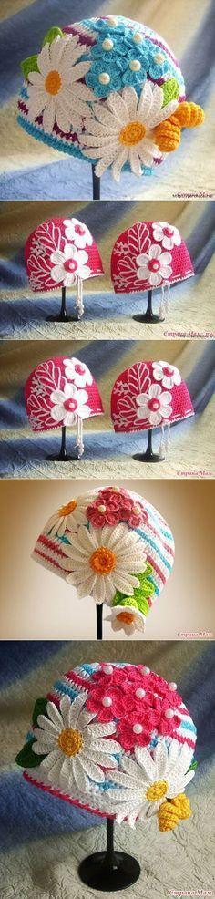 perchica.ru [] # # #Crochet #Headbands, # #Crochet #Hats, # #Baby #Hats, # #Daisies, # #Knitting, # #Shawl