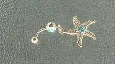 Stainless steel starfish belly ring by BlueBubbleCrystals on Etsy
