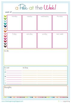 "Free Organizing Worksheets, Printables, and Planners! LOVE the "" A peak at the week planning page""!!!!! Very functional and colorful!!!"