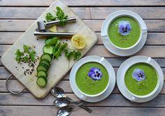 Koud soepje: courgette, komkommer, avocado, knoflook, gember, citroen, peterselie, maggiekruid (lava) e.a.