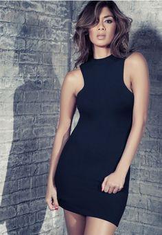 Nicole X - Dresses - Missguided Nicole X High Neck Mini Dress Black