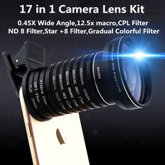 Universal Clip 17 in 1 Camera Lens Kit for iPhone Samsung Xiaomi Smart phones Lenses Macro WideAngle CPL ND8 Star Gradual Lens //Price: $38.87//     #Gadget