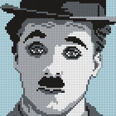 Charlie Chaplin as The Tramp (70 X 70 Square Grid Pattern)