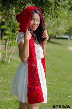 little red riding hood pocket scarf free crochet pattern