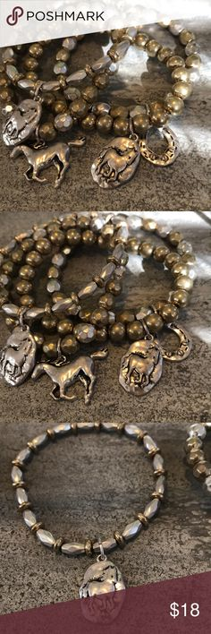 HORSE LOVER Bracelets! Set of 4! If horses are your thing, then these bracelets are for you. There are 4 stretchy bracelets that can be worn separately or together. Gold and Silver tone and adorable. Never worn. Jewelry Bracelets