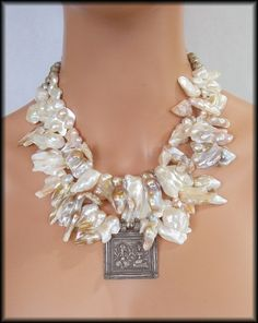 Cave Pearls Jewelry | ... - Blister Pearls - Rajasthan Pendant - 2 Strand Statement Necklace