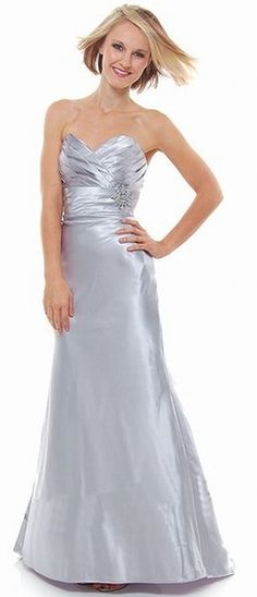 Strapless Sweetheart Silver Bridesmaid Dress Long Full Length Satin Gown Broach $96.99