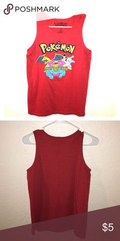 Muscle tank from Pokémon. Rusty red muscle tank from Pokémon. Lightly worn, no holes, stains, stretching or fading. ❤️ Pokemon Tops Muscle Tees