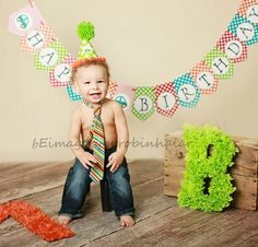 First Birthday Photo Shoot.  Like the idea of having his initial in the shoot.