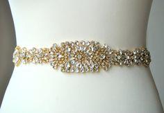 18 Gold Crystal Luxury Bridal Belt SashWedding by BlueSkyHorizons