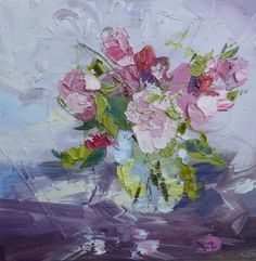 ORIGINAL STILL LIFE OIL PAINTING BY PAUL TREASURE. Dog Roses. 50x50. Hampshire based Paul Treasure was born in 1961 in Cheltenham and studied at Cheltenham College of Art. He moved to London in 1985 where he worked as a professional artist, painting to commission for clients worldwide. Buy it: http://www.artpal.com/collectableart?i=13694-9