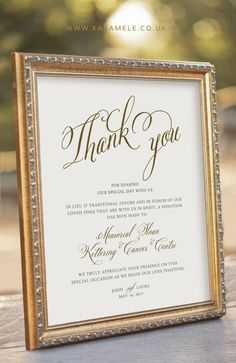 Printable Wedding Donation Sign