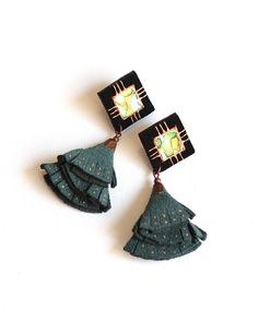 Leather Tassel Earrings, Black Suede Metallic Effect Leather, Green Suede, Copper Hand Painted, Rhombus Earrings Fringe Earrings, Star Earrings, Leather Earrings, Leather Jewelry, Drop Earrings, Metallic Paint, Metallic Leather, Suede Leather, Green Suede