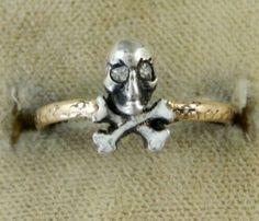 Antique enamel skull ring