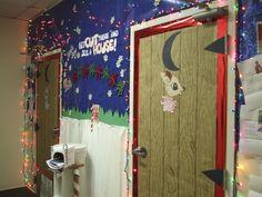 Christmas decor for the office bathroom doors!