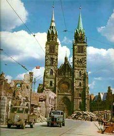 British bomb destruction of churches in Nürnberg, Germany - Nuremberg Nuremberg Germany, Bavaria Germany, Visit Germany, Germany Travel, War Photography, The Republic, Destruction, World War Ii, Barcelona Cathedral