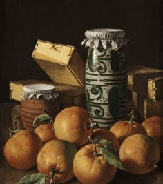 Art from Spain - Luis Egidio Meléndez (1716–1780) was a Spanish painter. Although he received little acclaim during his lifetime and died in poverty, Meléndez is recognized today as the greatest Spanish still-life painter of the 18th century. Still Life with Oranges, Jars, and Boxes of Sweets.