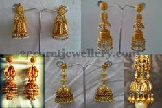Jewellery Designs: Antique Thin Gold Jhumkas