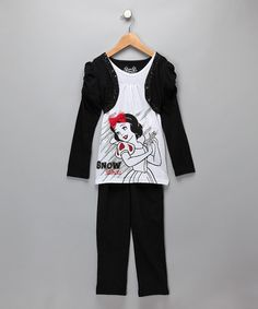 Take a look at this White & Black Snow White Layered Top & Pants - Girls by Disney on #zulily today!