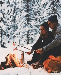 Nothing like getting cozy near a fire with him