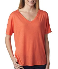 A light and airy tee that flows like the wind and feels even better. Bella 8815 - Ladies' Flowy Simple V-Neck Tee, made of 3.7-ounce, 30-single 65% polyester/35% viscose, keeps you soft and comfortable.