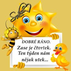 Čtvrtek Bee Rocks, Winnie The Pooh, Good Morning, Pikachu, Disney Characters, Fictional Characters, Funny, Quotes, Night