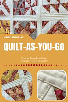 This the written instructions to go with the Video Video tutorial: Quilt-as-you-go (QAYG), the easiest way to finish your quilt on a domestic machine Quilting Board, Patchwork Quilting, Quilting Tips, Quilting Tutorials, Machine Quilting, Quilting Projects, Quilting Designs, Sewing Tutorials, Crazy Quilting