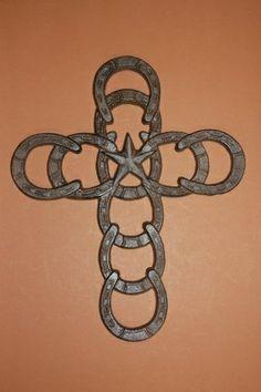 Cross Cast Iron Horseshoe Texas Star