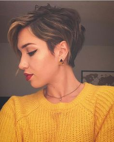 """How to style the Pixie cut? Despite what we think of short cuts , it is possible to play with his hair and to style his Pixie cut as he pleases. For a hairstyle with a """"so chic"""" and pointed… Continue Reading → Pixie Haircut For Thick Hair, Long Pixie Hairstyles, Short Pixie Haircuts, Women Pixie Haircut, Longer Pixie Haircut, Pixie Haircut Styles, Pixie Styles, Casual Hairstyles, Medium Hairstyles"""