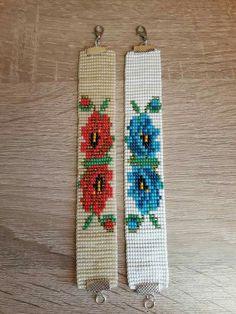 Loom Bracelet Patterns, Bead Loom Bracelets, Bead Loom Patterns, Beading Patterns, Loom Flowers, Beaded Flowers, Bead Jewellery, Beaded Jewelry, Crochet Pouch