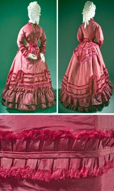 Promenade dress, ca. 1870. Silk taffeta, linen plain weave, and cotton twill weave with silk macramé fringe. Los Angeles County Museum of Art