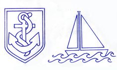 1950s Vintage Nautical ANCHOR & SAILING BOAT Sewing Transfers Embroidery Transfers, Embroidery Designs, Baby Embroidery, Vintage Nautical, Sailing Boat, Nautical Anchor, Sailor, 1950s, Sewing