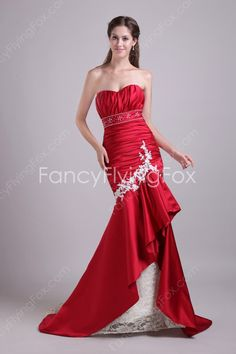 Unique Shallow Sweetheart Trumpet Full Length Red And Ivory Bridal Dresses Brush Train at fancyflyingfox.com
